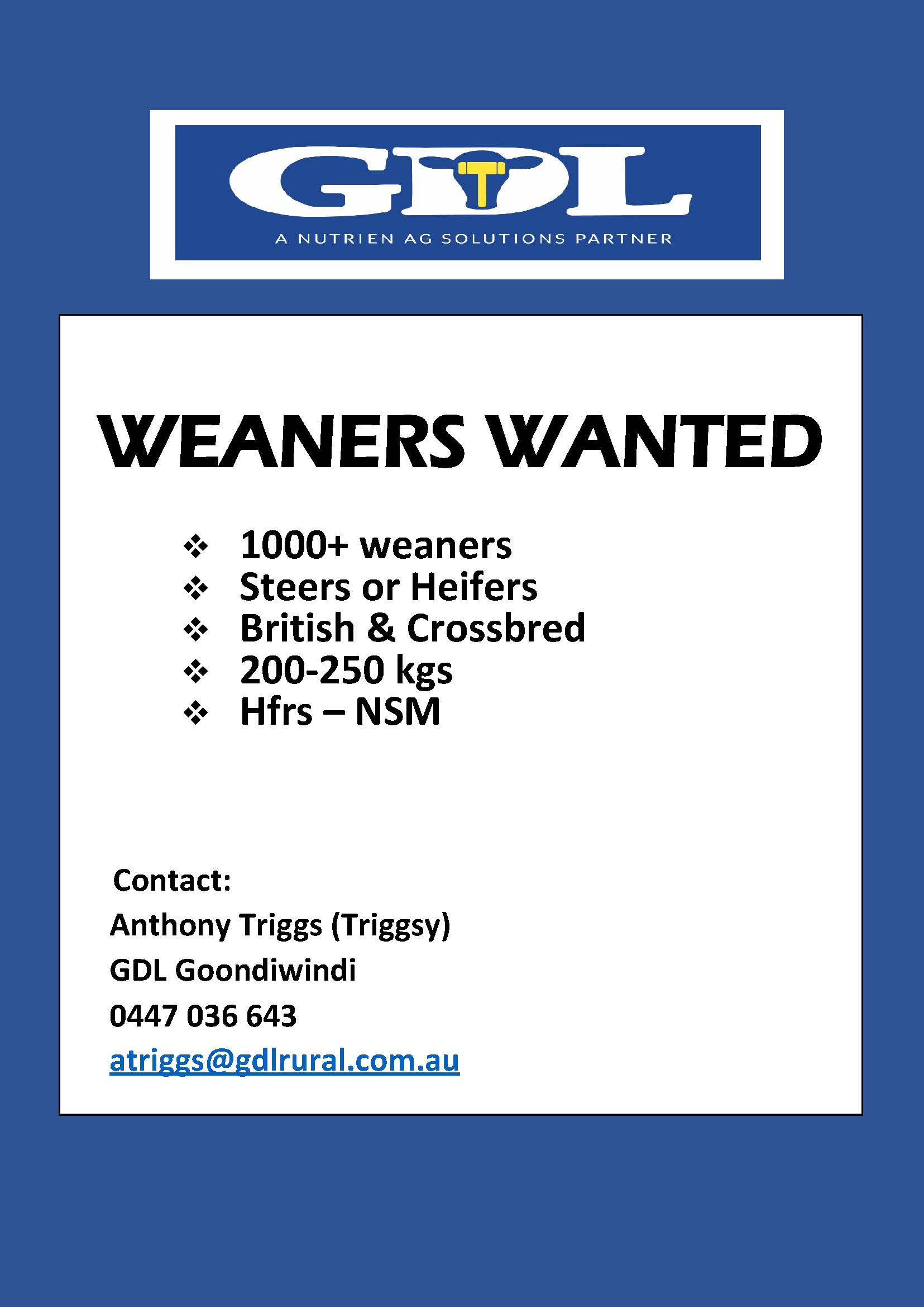 Wanted – Weaners